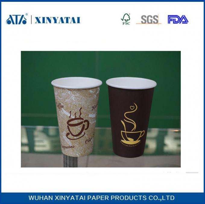 Single Wall Disposable Hot Drink Paper Cups , Printing Customised Paper Cups