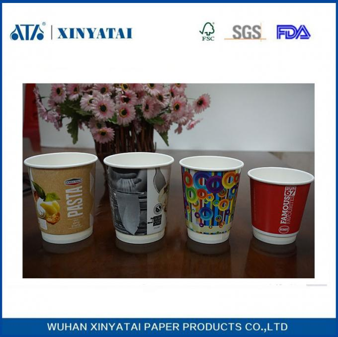 Logo Printed Insulated Disposable Paper Cups , Double Wall Beverage Takeaway Cups