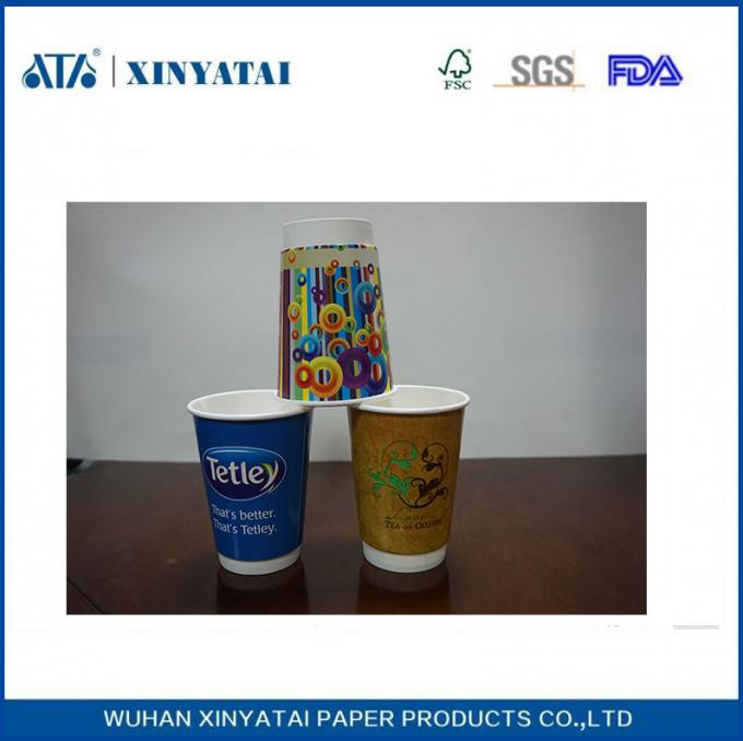 Double Wall Customized Paper Coffee Cups 12oz 400ml OEM With Logo