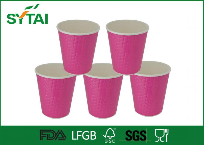 Pink Waterproof Disposable Espresso Cups With Lids , Embossed Corrugated Logo