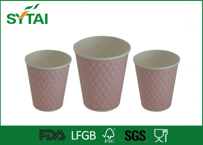 Customed Adiabatic Ripple Paper Cups / Takeaway Paper Coffee Cup Printing With Lids