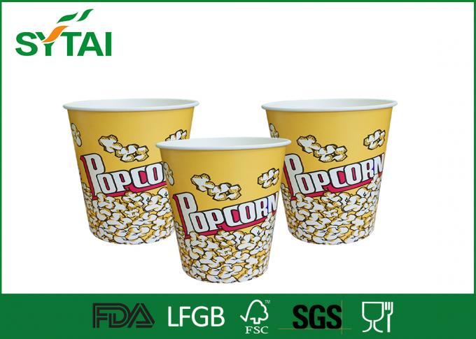 Disposable Paper Popcorn Buckets / Biodegradable Paper Popcorn Cups Multi Color