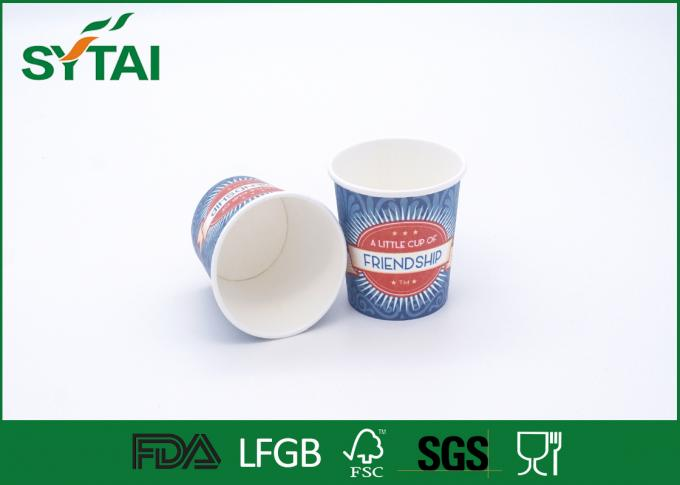 Disposable Blue Custom Printed Paper Cups For Friendship , Biodegradable