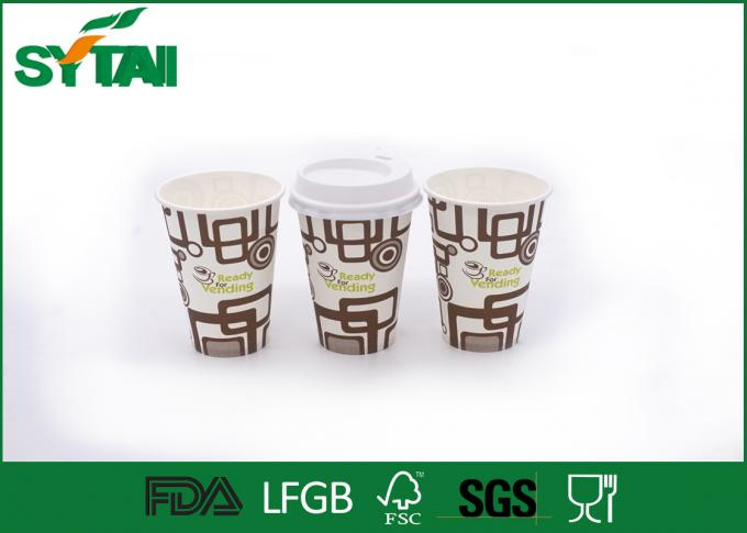 Customsized Hot Drink Paper Cups With Lid / Coffee Takeaway Cups ISO9001 Certification