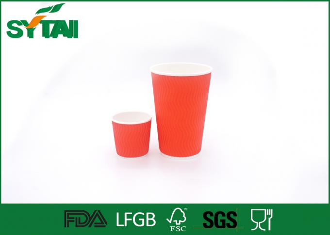 Custom Red Ripple Paper Cups 4oz-22oz With Plastic / Paper Lids , Eco Friendly