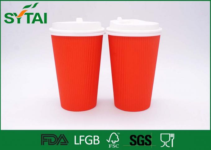 Corrugated Ripple Paper Cups , White Lids Paper Coffee Cups 8 Oz 12 Oz 16 Oz
