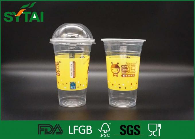 Clear 12 Oz PET Disposable Plastic Cups For Beverage With Your Own Logo