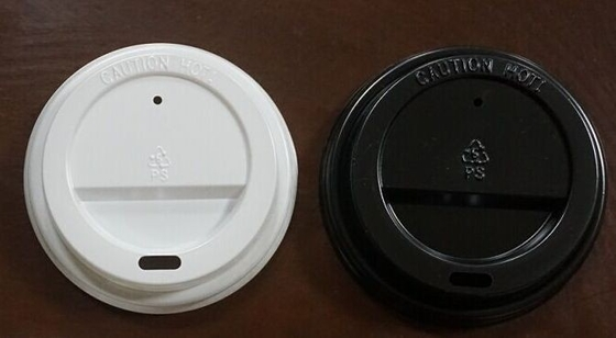China PET , PS Plastic Black and White Flat Paper Cup Lids with Multi Color for Customized supplier