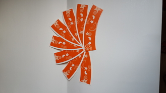 China Orange Logo Printed Customized Paper Cup Fan / Paper Blank / Paper Sheet for Paper Cups supplier
