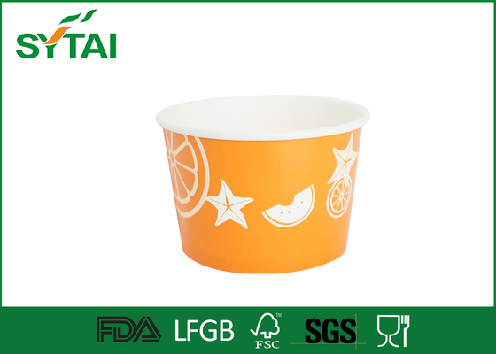 Biodegradable Orange Eco Friendly Paper Ice Cream Bowls With Lids