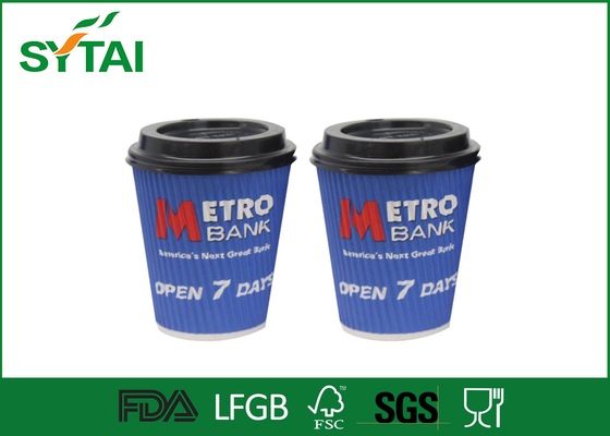 Eco 8oz 12oz Blue Disposable Cup Printing White Or Black Lids