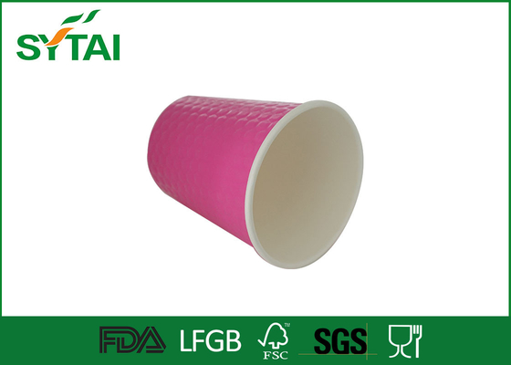 China Pink Waterproof Disposable Espresso Cups With Lids , Embossed Corrugated Logo supplier