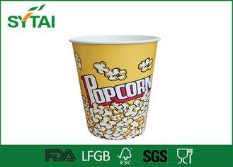 China Disposable Paper Popcorn Buckets / Biodegradable Paper Popcorn Cups Multi Color supplier