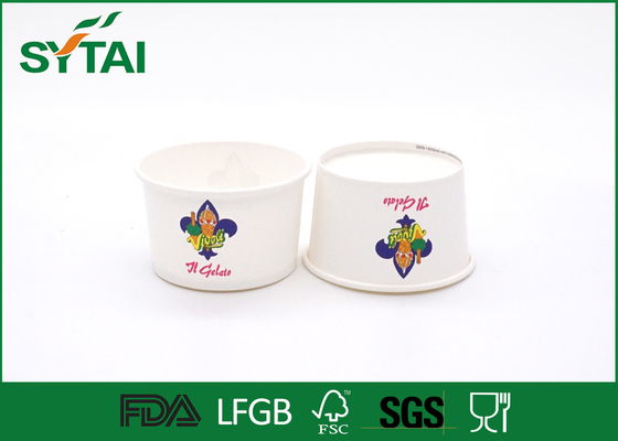 China 6 Oz Size 240 ML Disposable Eco - friendly White Paper Ice Cream Cups Impermeable supplier