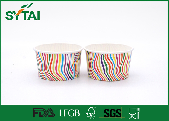 China Stripe Pattern Paper Ice Cream Cups , Disposable Ice Cream Cups Customized supplier