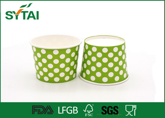 China Dot Pattern Printed Recycled Ice Cream Paper Cups , Customized Logo Ice Cream Bowls supplier