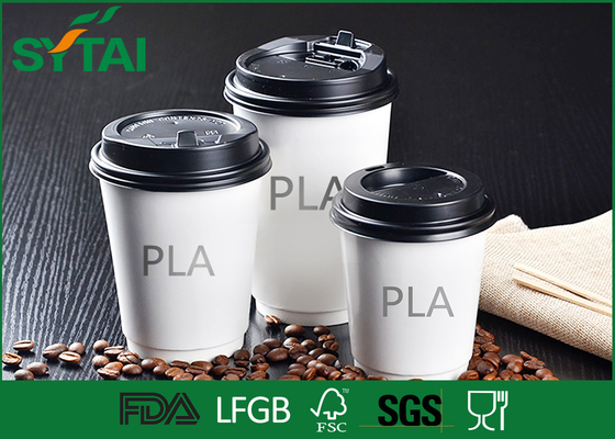 China Healthy Hot Drink PLA Paper Cups , Coffee Cups To Go With Lids Simple Design supplier