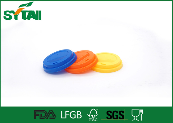 Plastic Flat / Reusable Cups Lids Blue Color For Matching Paper Cups , PP Material