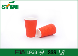 China Custom Red Ripple Paper Cups 4oz-22oz With Plastic / Paper Lids , Eco Friendly supplier