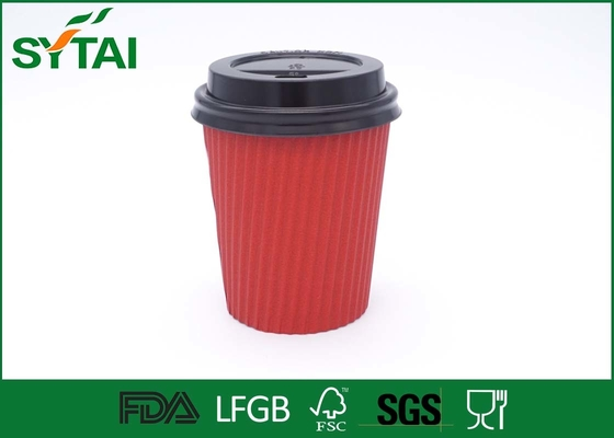 China Takeaway Hot Drinking Ripple Paper Cups Disposable With Lids , Custom Logo supplier