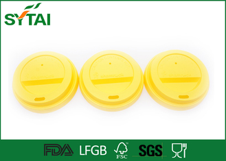 80mm Diameter Plastic Yellow Disposable Drinking Cups Lids for Paper Cups