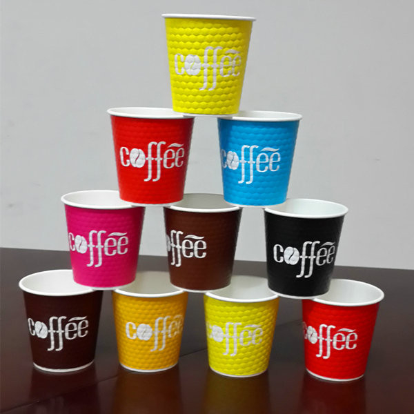 8oz Flexo Printing Diamond Double Wall Paper Coffee Cups Disposable Cup