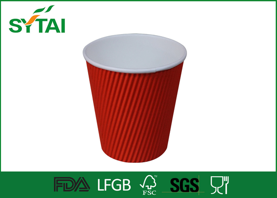 China Liquid Proofing Ripple Paper Cups , Disposable 12oz Coffee Paper Cup factory