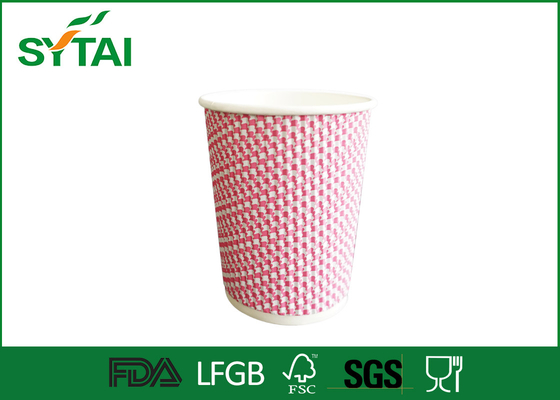 China Customize Printing Ripple Paper Cups 8 10 12 Oz Paper Drinking Cups factory