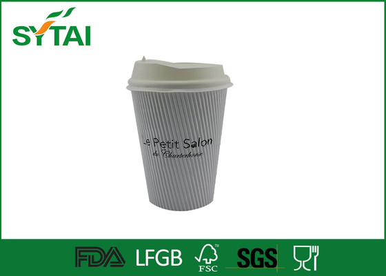 China Good Heat insulated paper coffee cups with lids , Corrugated large disposable cups 12oz factory