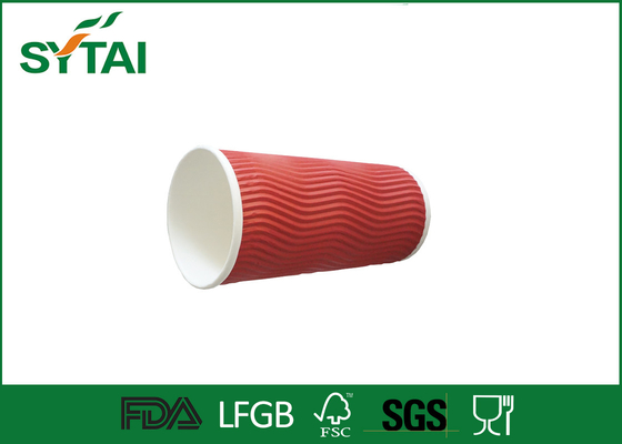 China Red Ripple Paper Cups , drinking double walled paper coffee cups factory