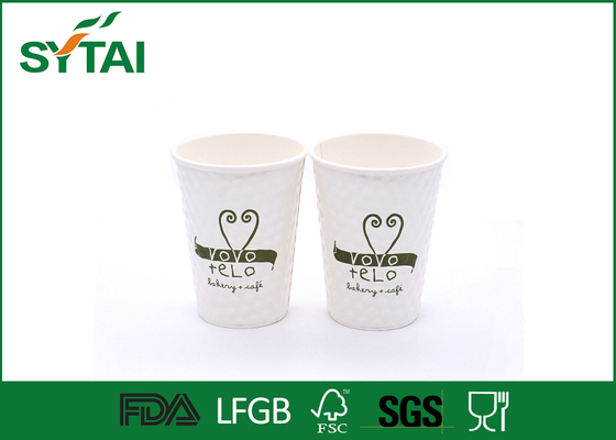 China Eco - friendly White Embossing Paper Cup With Green Love Design Printed factory