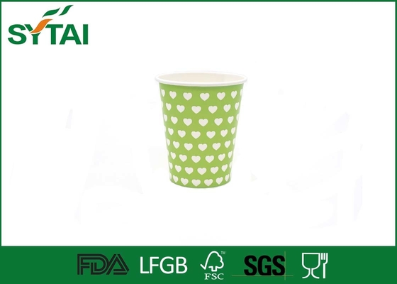 Beverage Green Like Dotted Single Wall Paper Cups Disposable Love Printing
