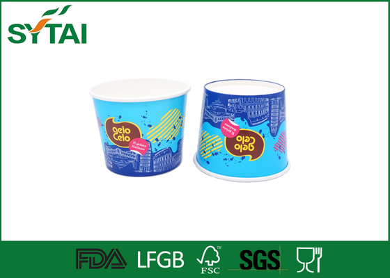 Blue Colorful Paper Ice Cream Cups , Biodegradable custom printed ice cream cups