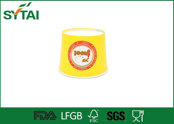 Yellow Colorful Printed Custom Ice Cream Cups Disposable Environmentally Friendly
